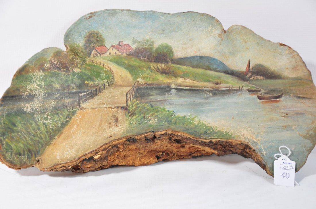 """40: Oil Painting on Mushroom 18""""x 10 Depicting Village"""