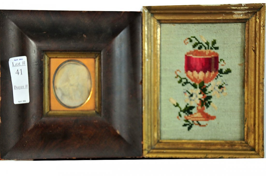 """41: Two piece lot a framed needlework 5x7"""" in old frame"""