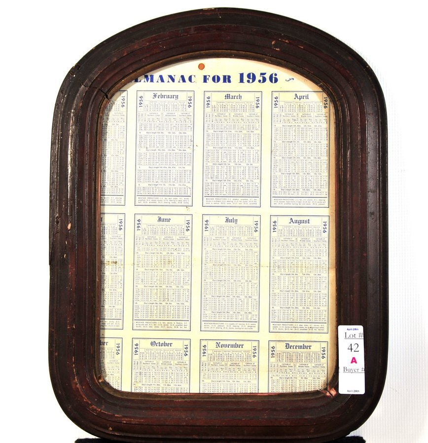 42A: Almanac for 1956 in wooden frame 13 1/2 x 17 1/2