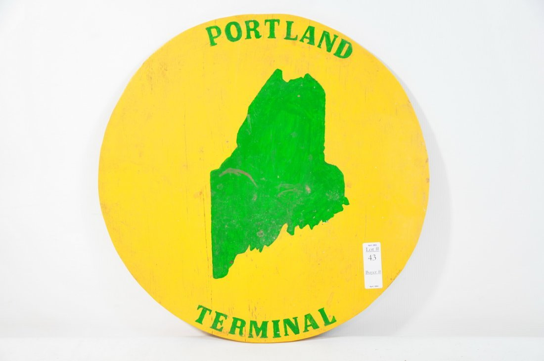 "43: 18"" Diameter wood painted Portland Terminal sign"