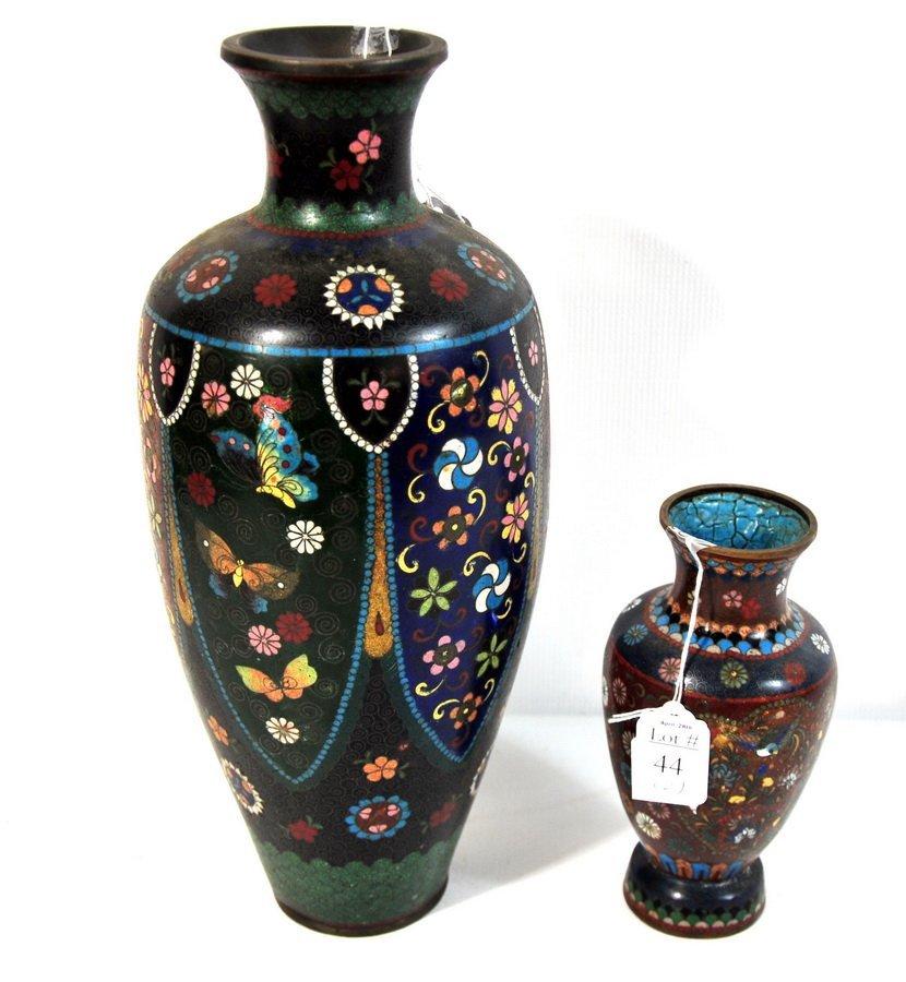 """44: two piece cloisonne lot 15"""" old enamel pottery piec"""