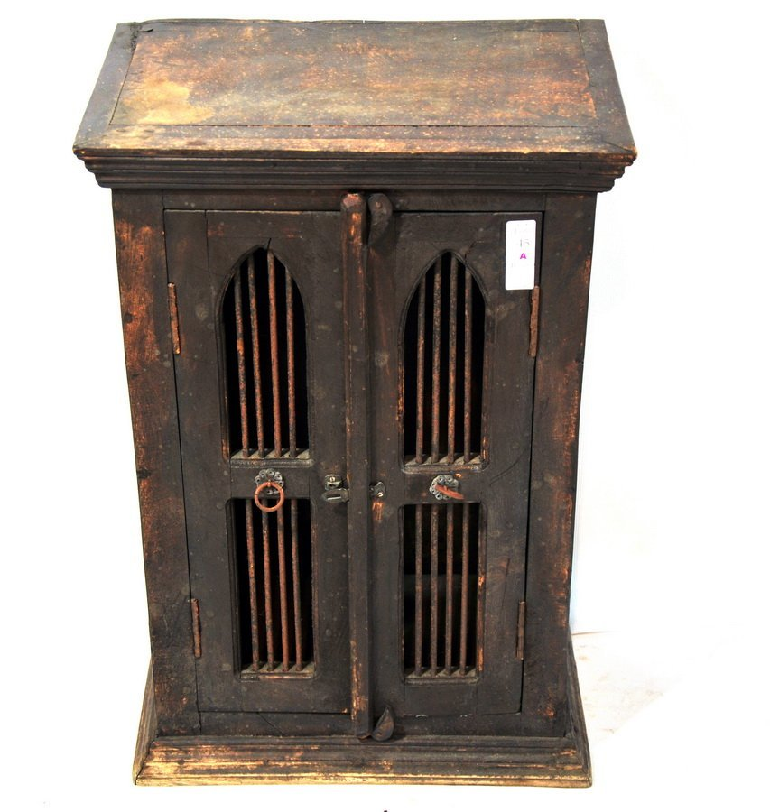 45A: Wooden Birdcage Cupboard with doors and iron loope