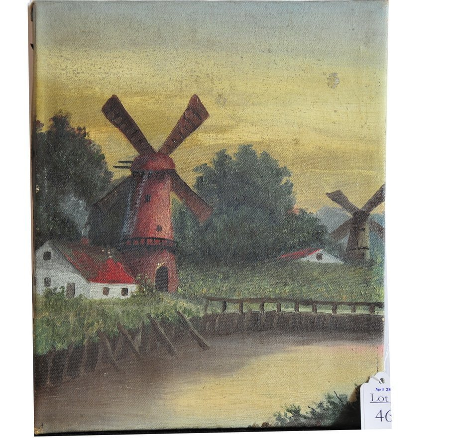 46: OOC Primitive 11x9 depicting windmills unsigned and