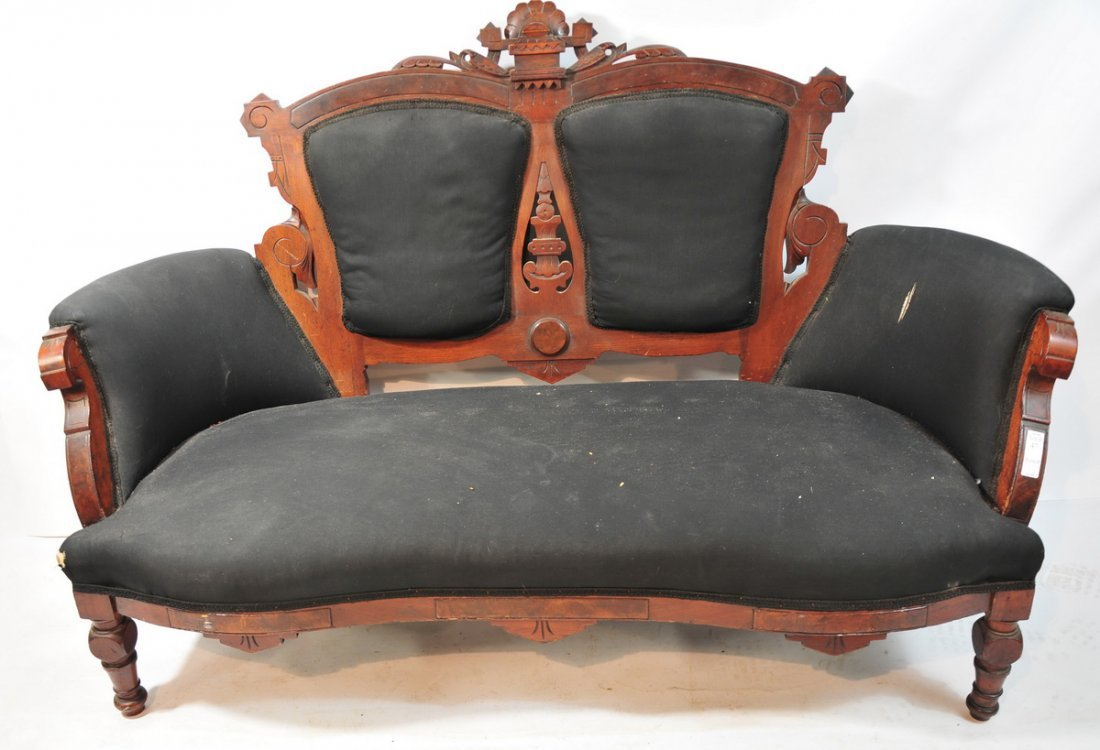 47: 3 Pc. Walnut settee with 2 side chairs black uphols