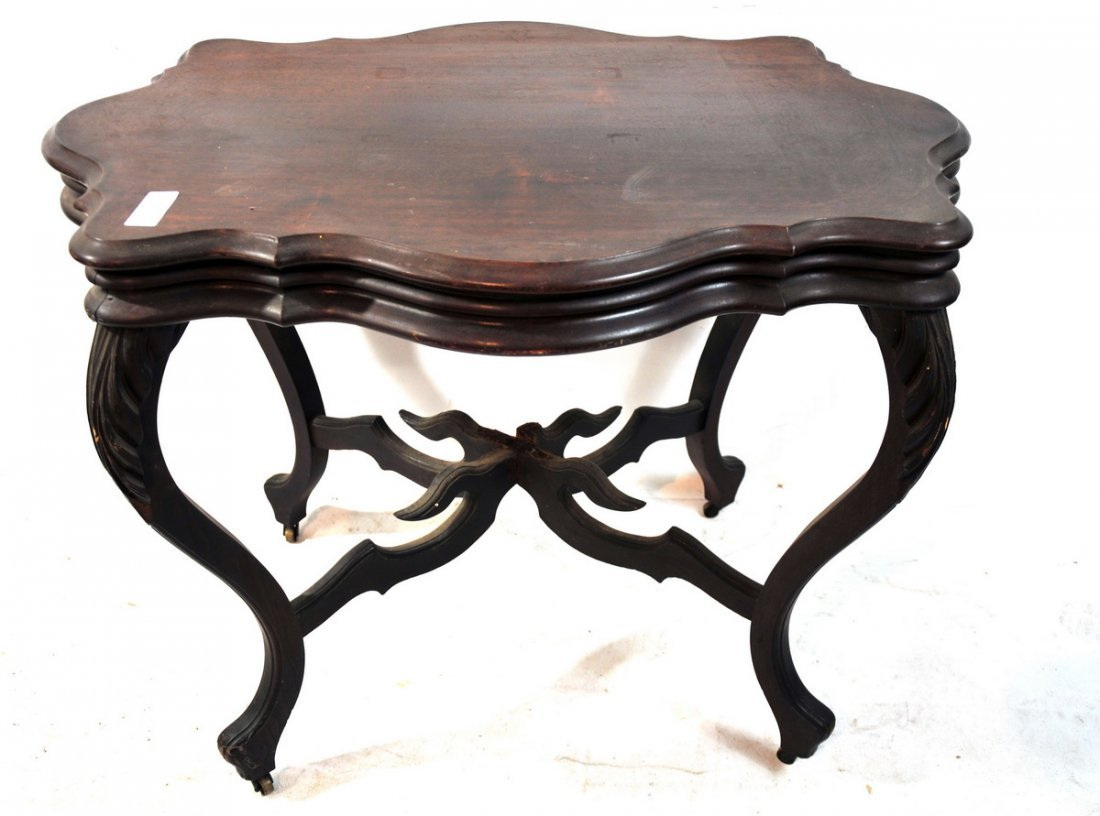 48: Mahogany carved table turtle top 36x26x29