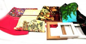 Misc. Lot With Hand Painted Textile Signed  And Fr