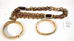 Vintage Jewelry Necklace And 3 Bracelts