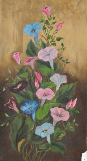 OOC 12x22 Old Colorful Floral Painting Unsigned