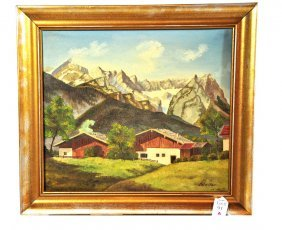 OOC Mountain Scene Signed Stelter 15x13 Framed