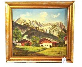 OOC Mountain Scene Signed Stelter 15x13 Framed