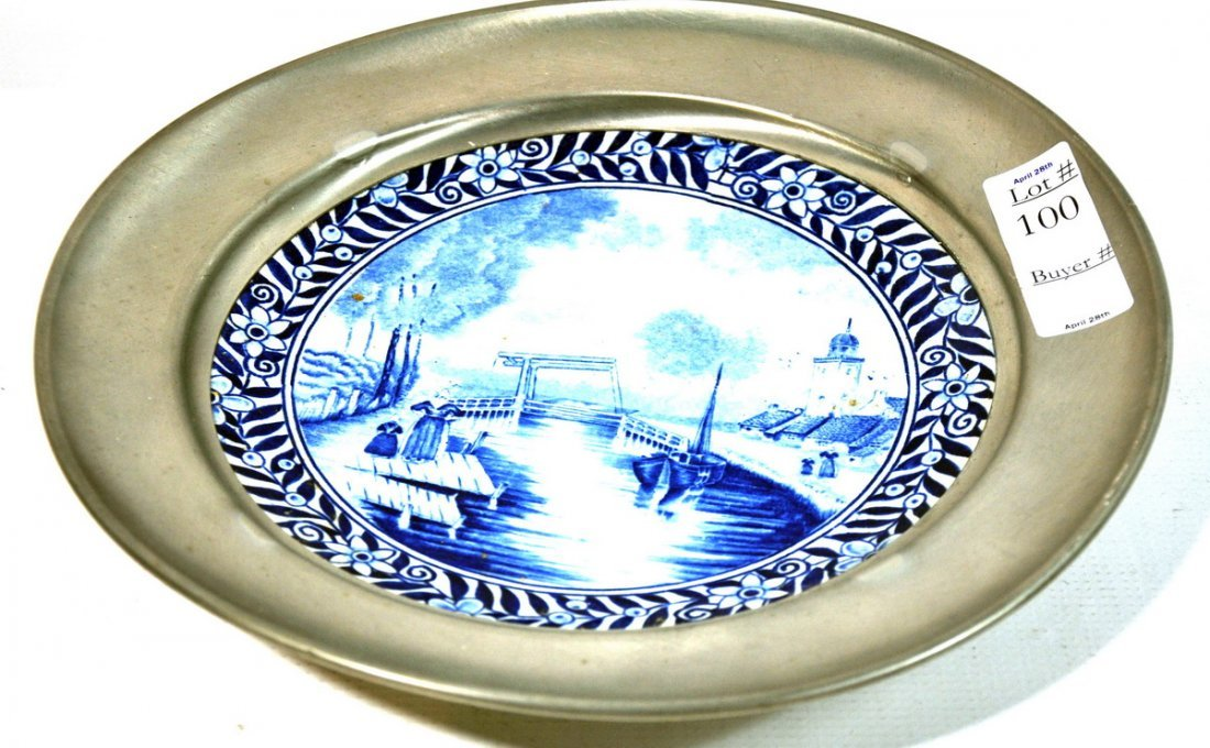 100: Delft Plate encased in pewter 8""