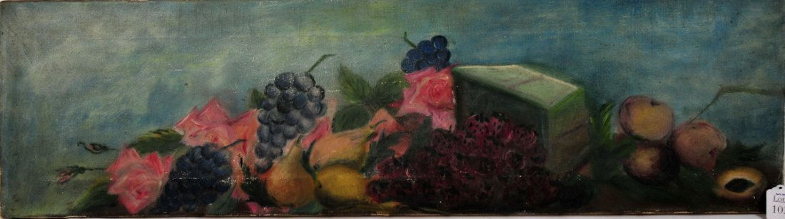 103: OOC still life with fruit unsigned and unframed 36