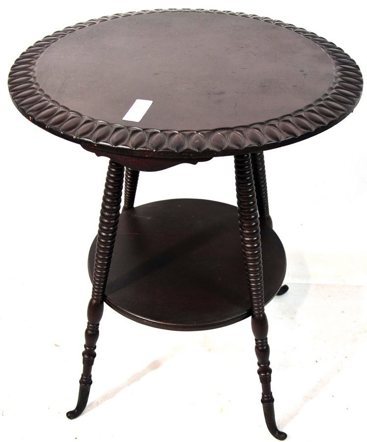 108: Early 20th century Mahogany metal footed round top