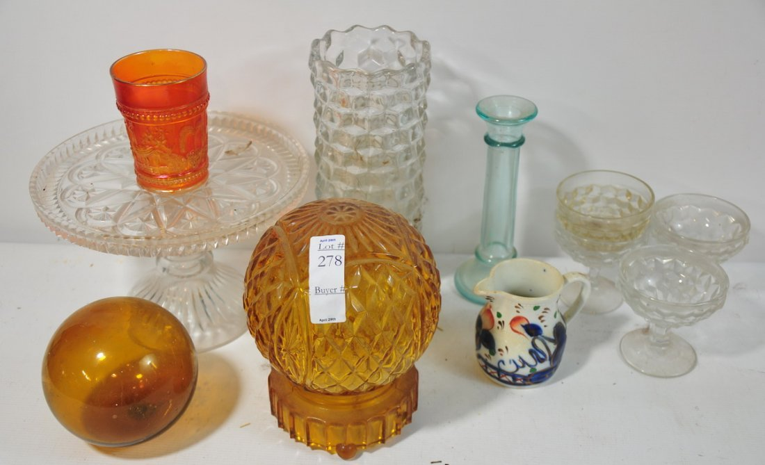 278: Group of cut and pressed glass vases, pedestal dis