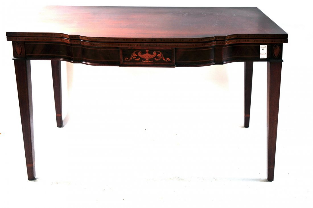 6: Mahogany inlaid centennial card table with hepple wh