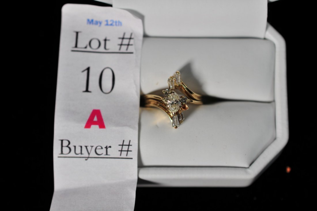 10A: Diamond Pear shaped Ring with insert band size 5