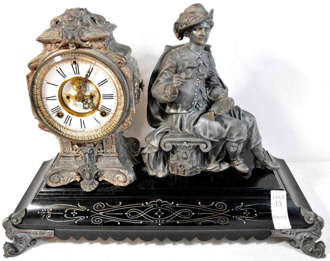 13: Ansonia Figural Mantle clock depicting a painter co