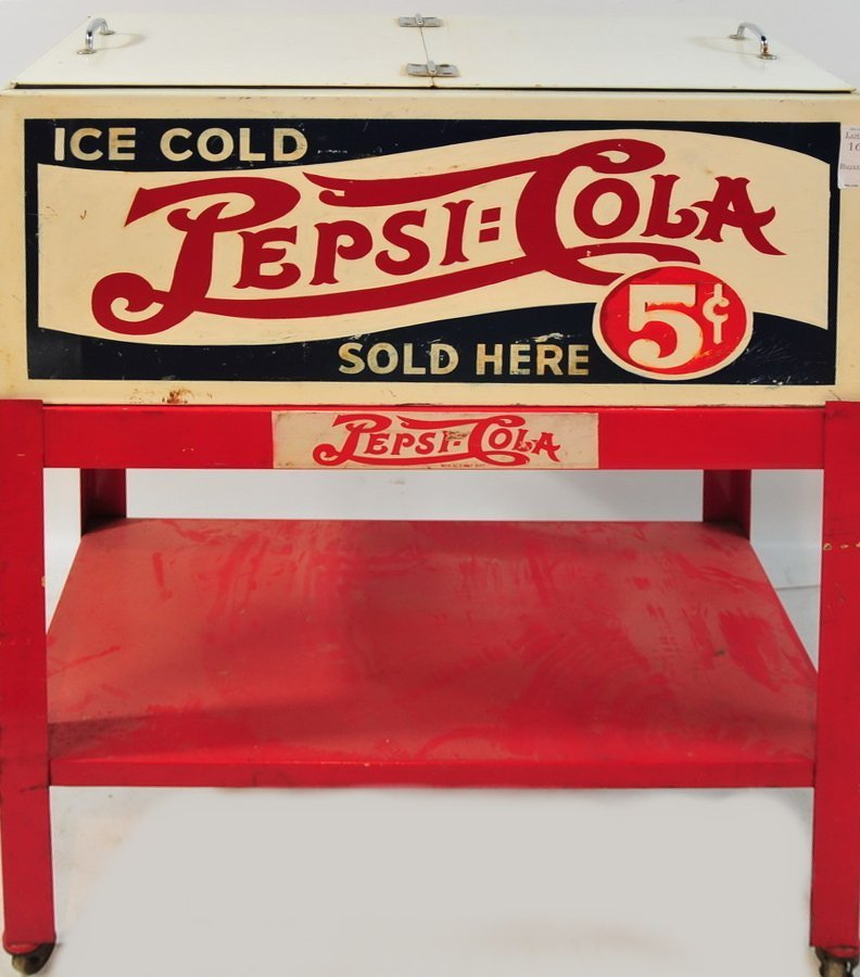 16: Ice Cold Pepsi Cola Antique Cooler Cart on wheel wi