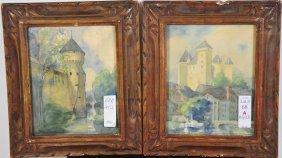 """Pair Of Watercolors 9""""x7"""" Depicting European Scene"""