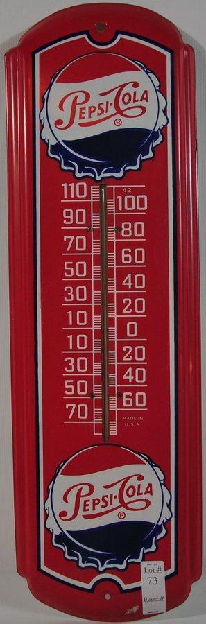 """73: 27"""" Pepsi Cola Thermometer"""