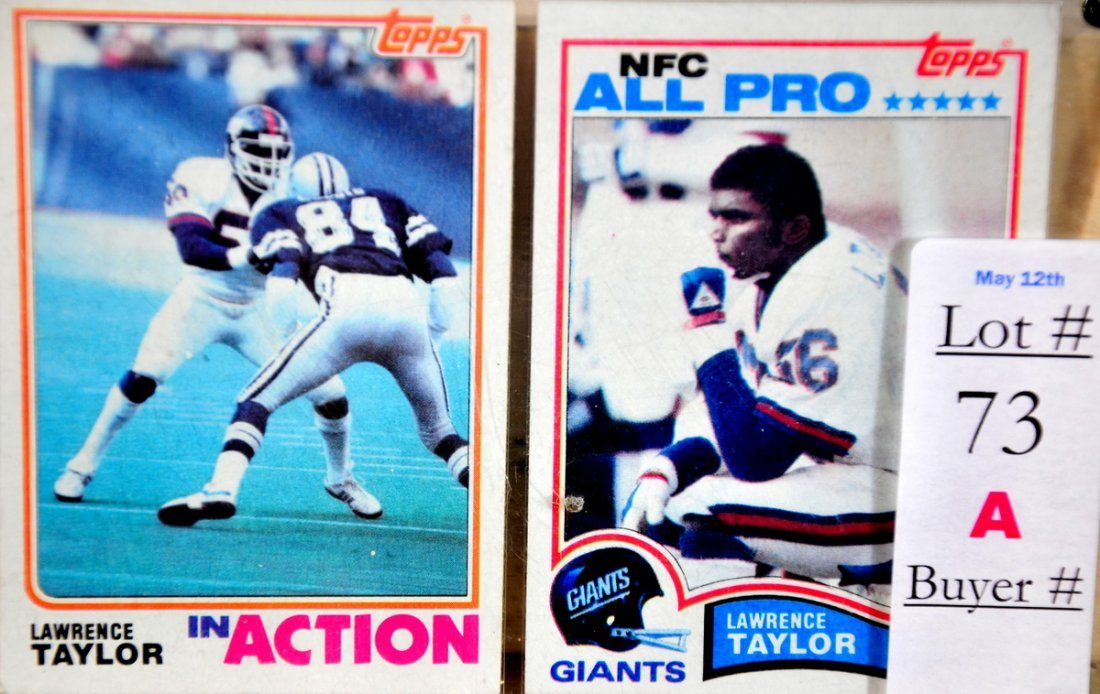 73A: Two 1982 Lawrence Taylor Rookie Cards in near mint