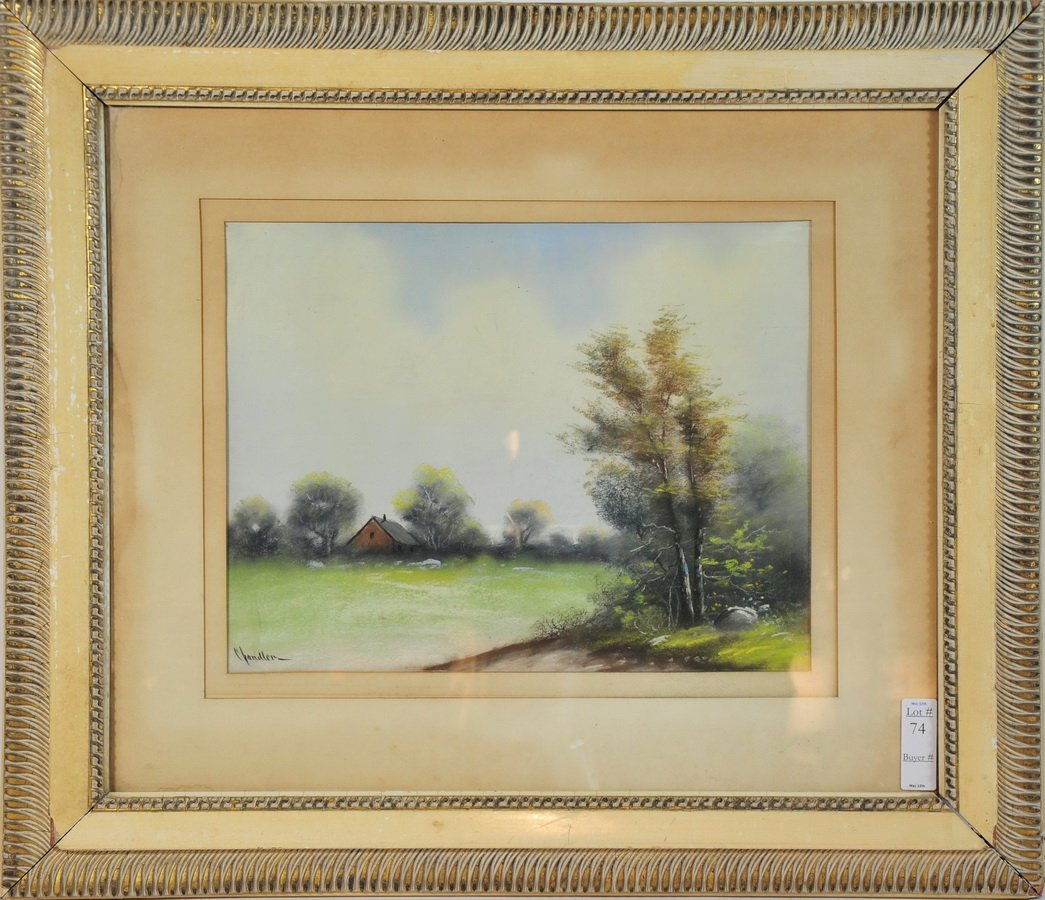 74: William Henry Chandler signed pastel painting 17x13