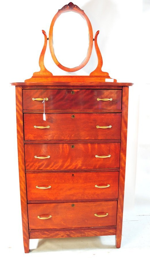 76A: Five Drawer chest - refinished with oval mirror an
