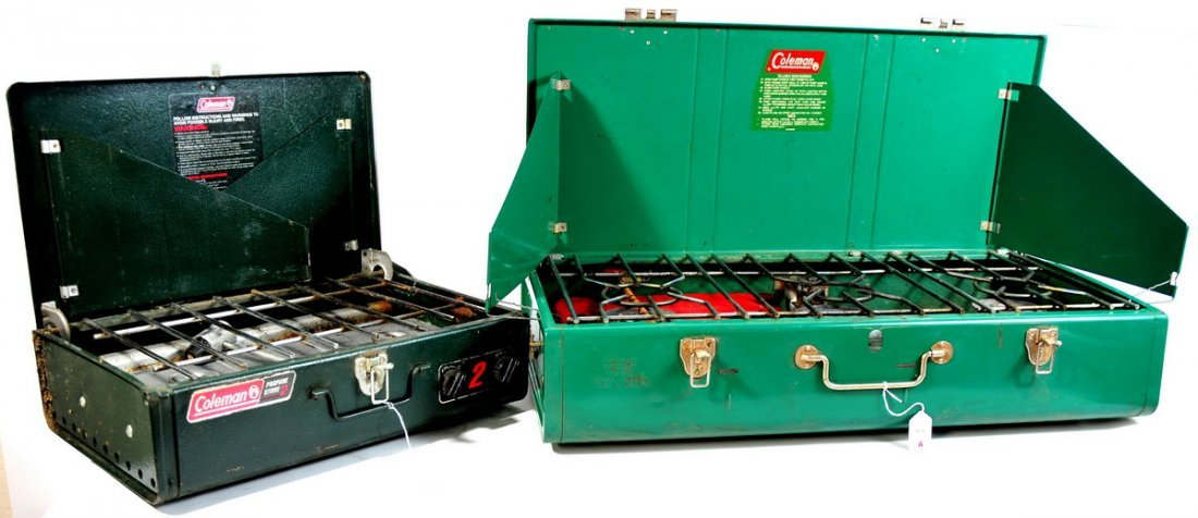 """77A: Two Coleman Stoves, One dark green 18"""" W 2 burner"""