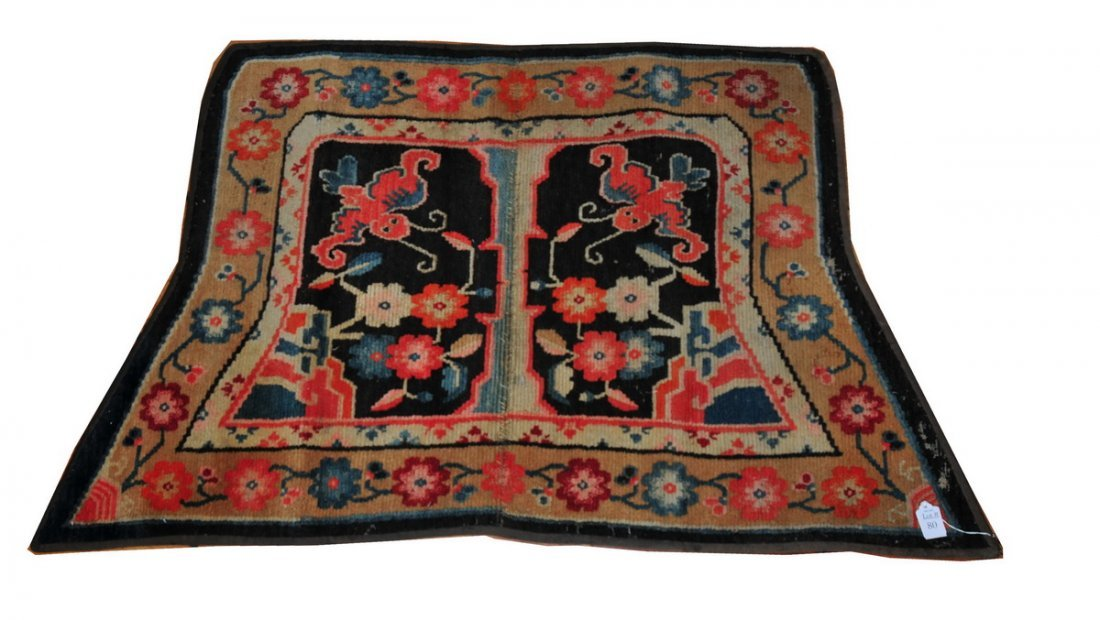 """80: Hearth Rug tapered with flowers in muted colors 46"""""""