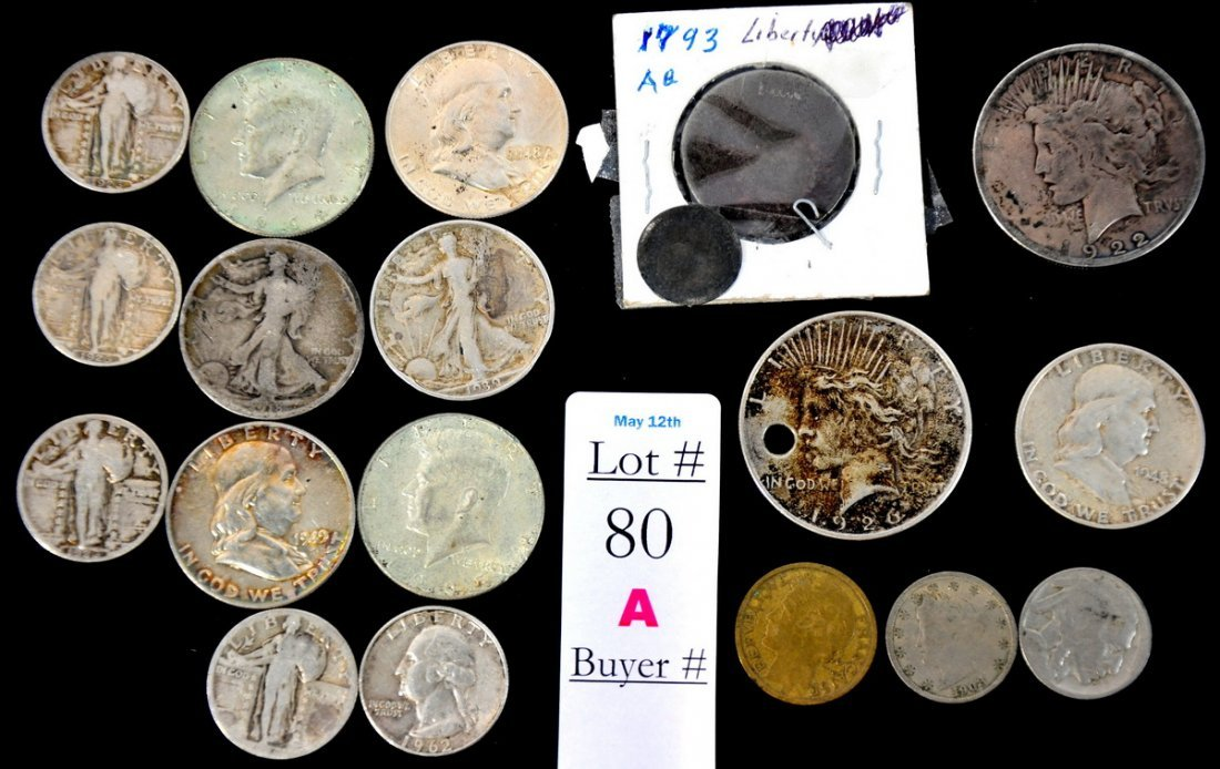 80A: Nineteen coins to include: Five Liberty Quarters 1
