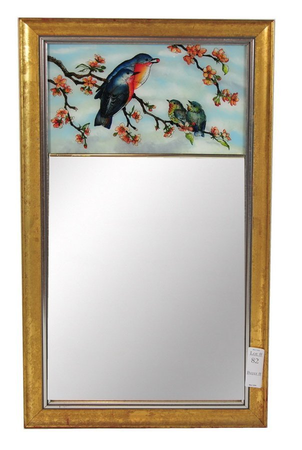 82: 15x26 framed mirror with reverse glass painting of