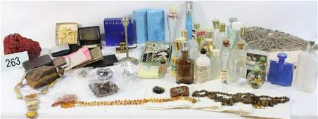 263 Box of misc items perfume bottles coral and jew