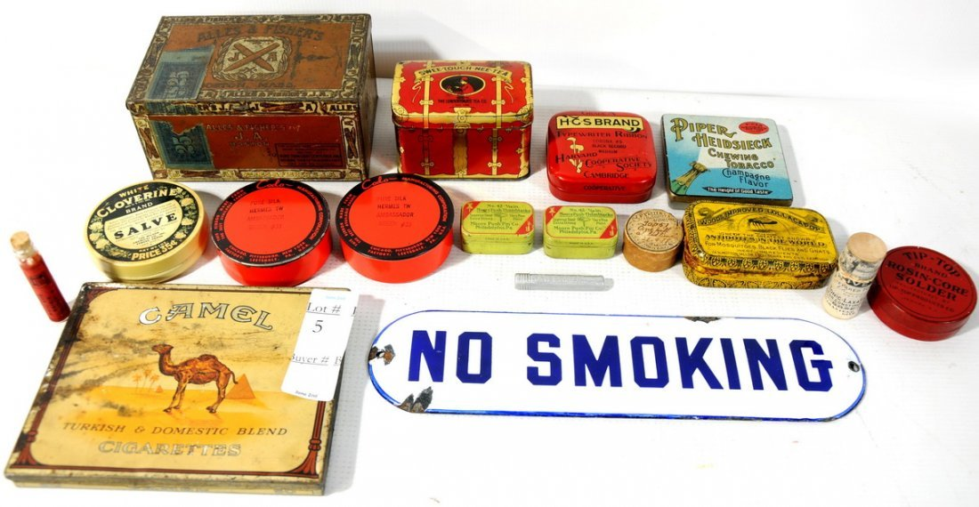 """5: Collection of Advertising Tins including porcelain """""""