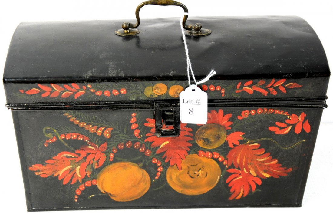 8: Early Tole decorated lift top tin document box. 13 x
