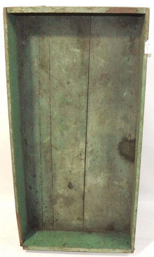 "9: Biddeford Maine flower box in old green paint ""Georg"