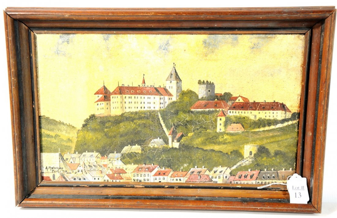 13: OOC with heavy varnish depicting a European Scene 1