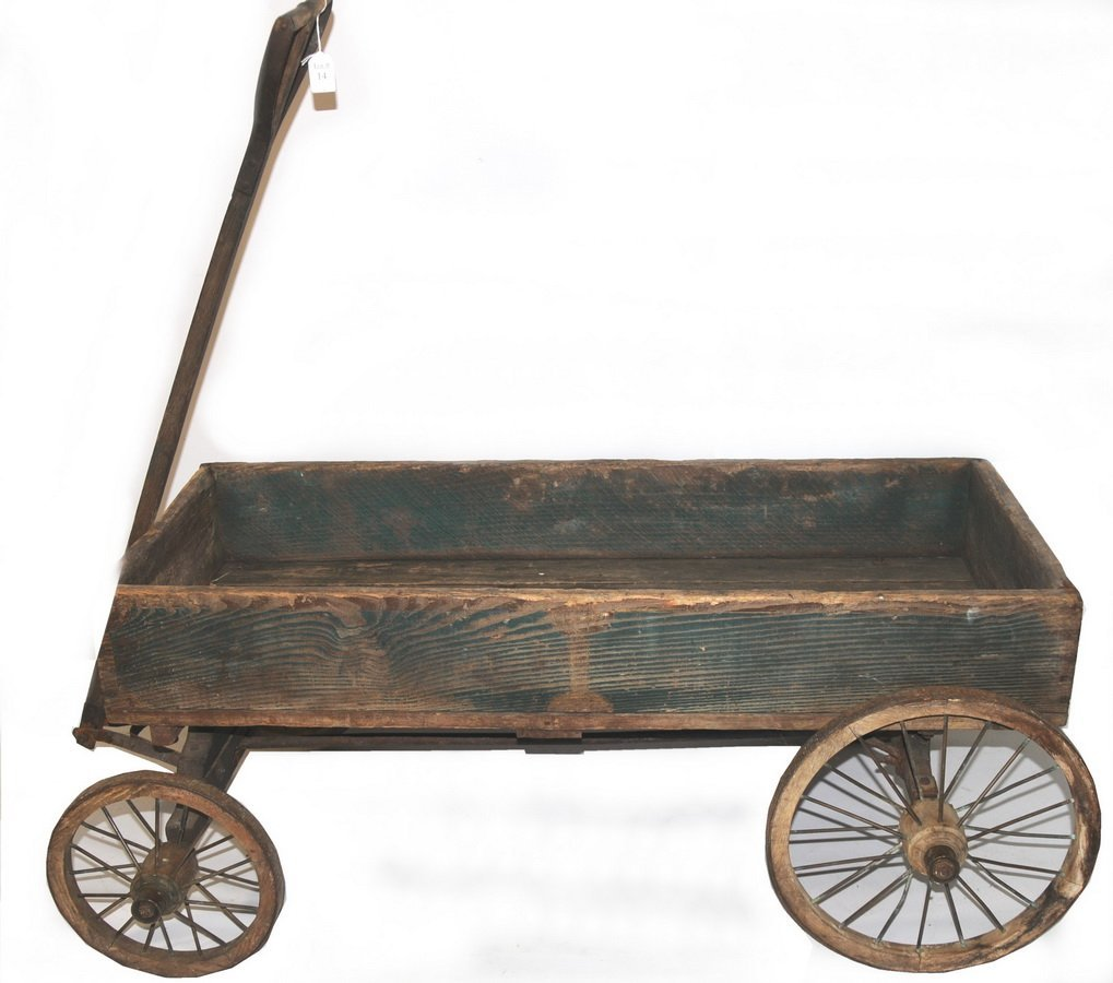 14: Excellent 19th century green painted pull wagon wit