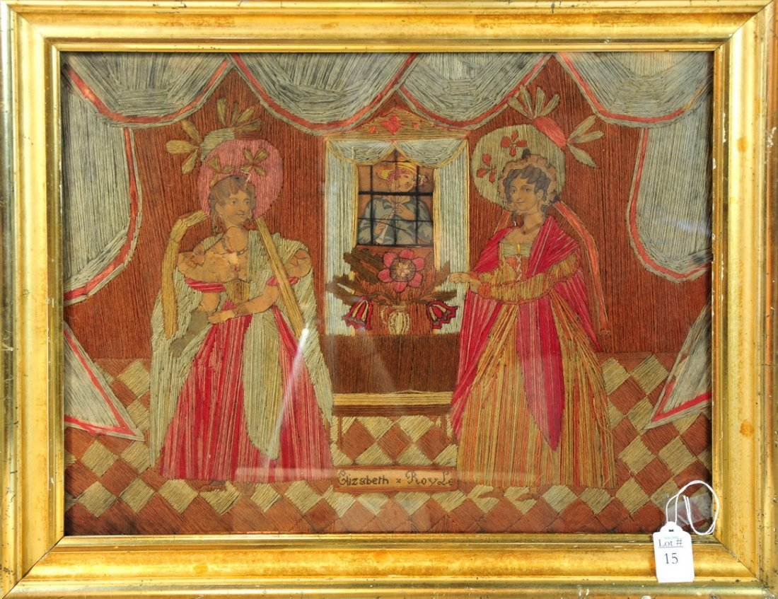 """15: Framed Embroidery w/ cutouts depicting Ladies """"Eliz"""