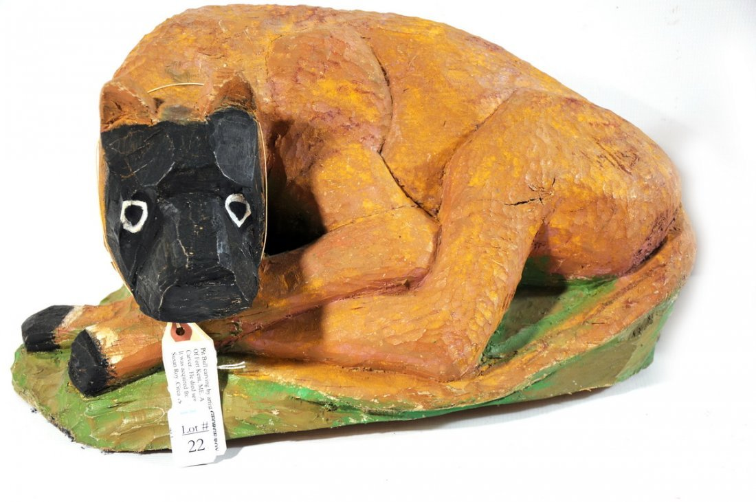 22: Folk Art Carving of Pitbull by master carver George