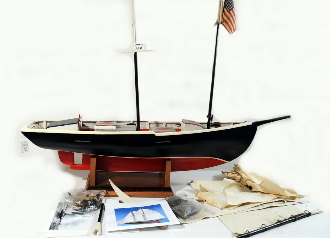 """22A: Old Hand Crafted """"Grand Banks Fishing Schooner"""" wi"""