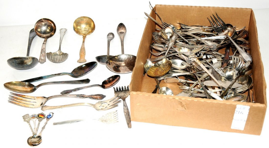 216: Large selection of silverplate flatware