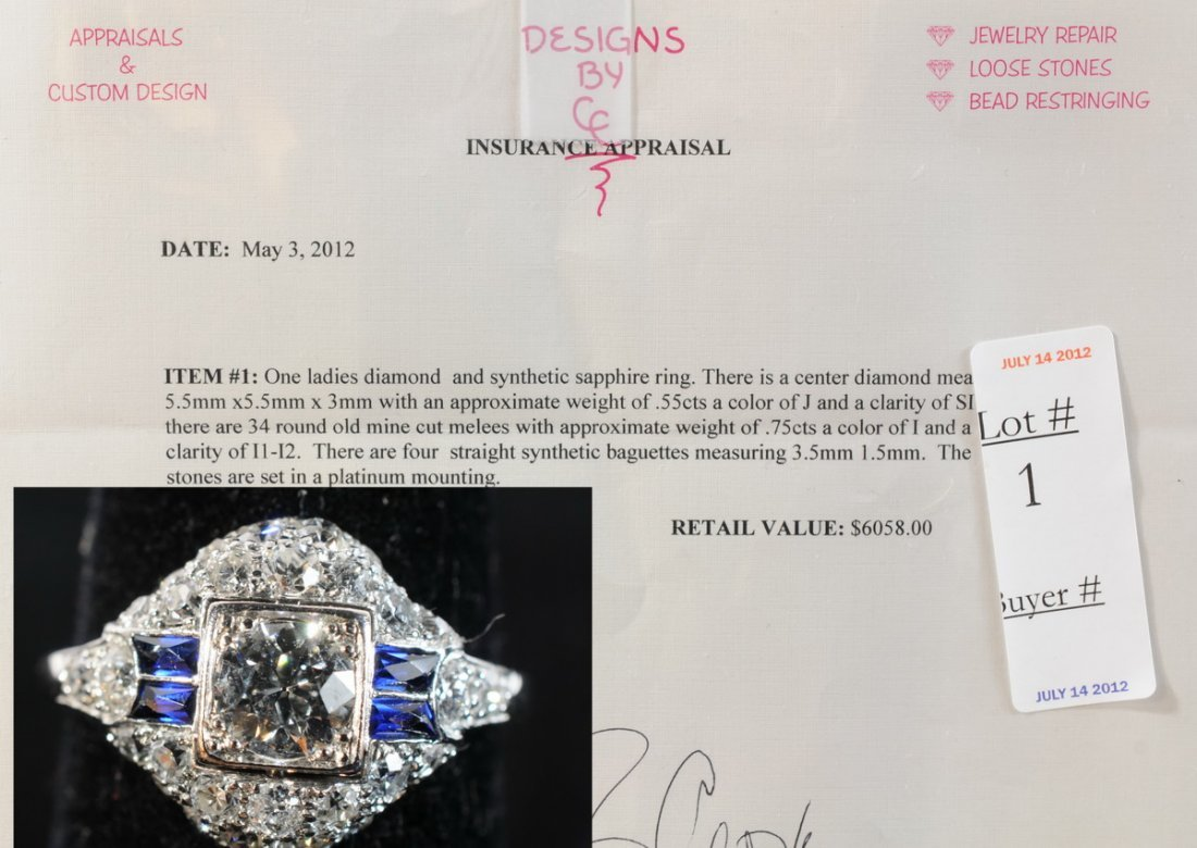 1: Ladies Diamond and Sapphire Estate Ring with .55 Ct