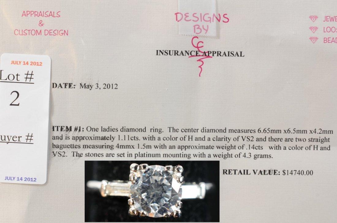 2: Ladies Diamond Estate Ring 1.11 Ct. center stone and