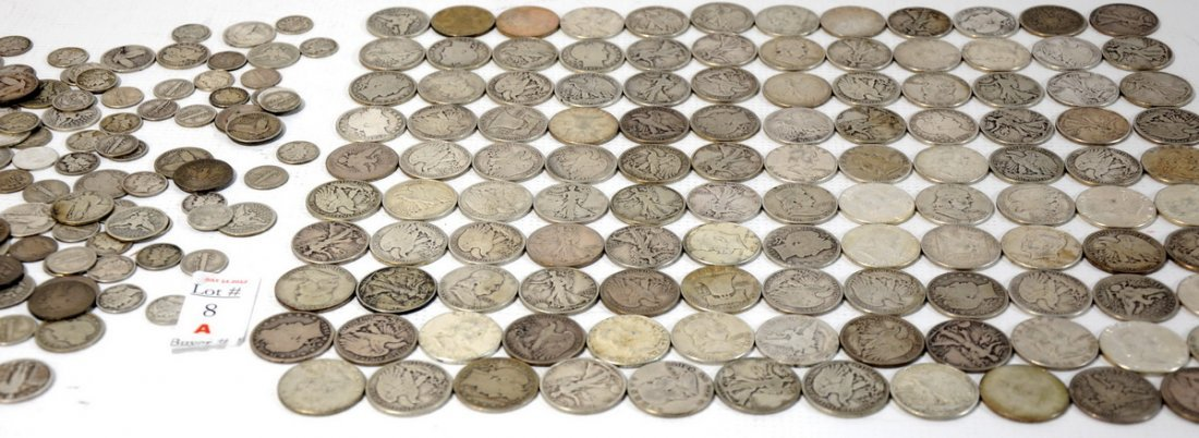 8A: Large collection of US 90% silver to include Walkin