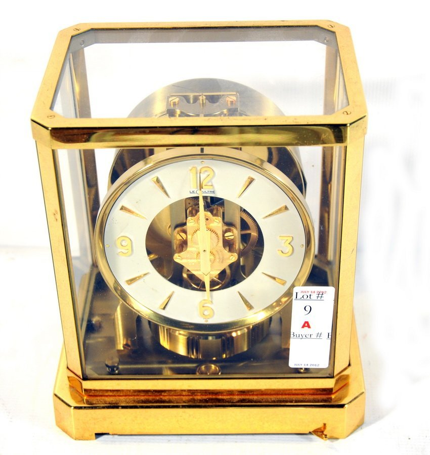 "9A: Le Coultre Perpetual motion clock 9""x8"""