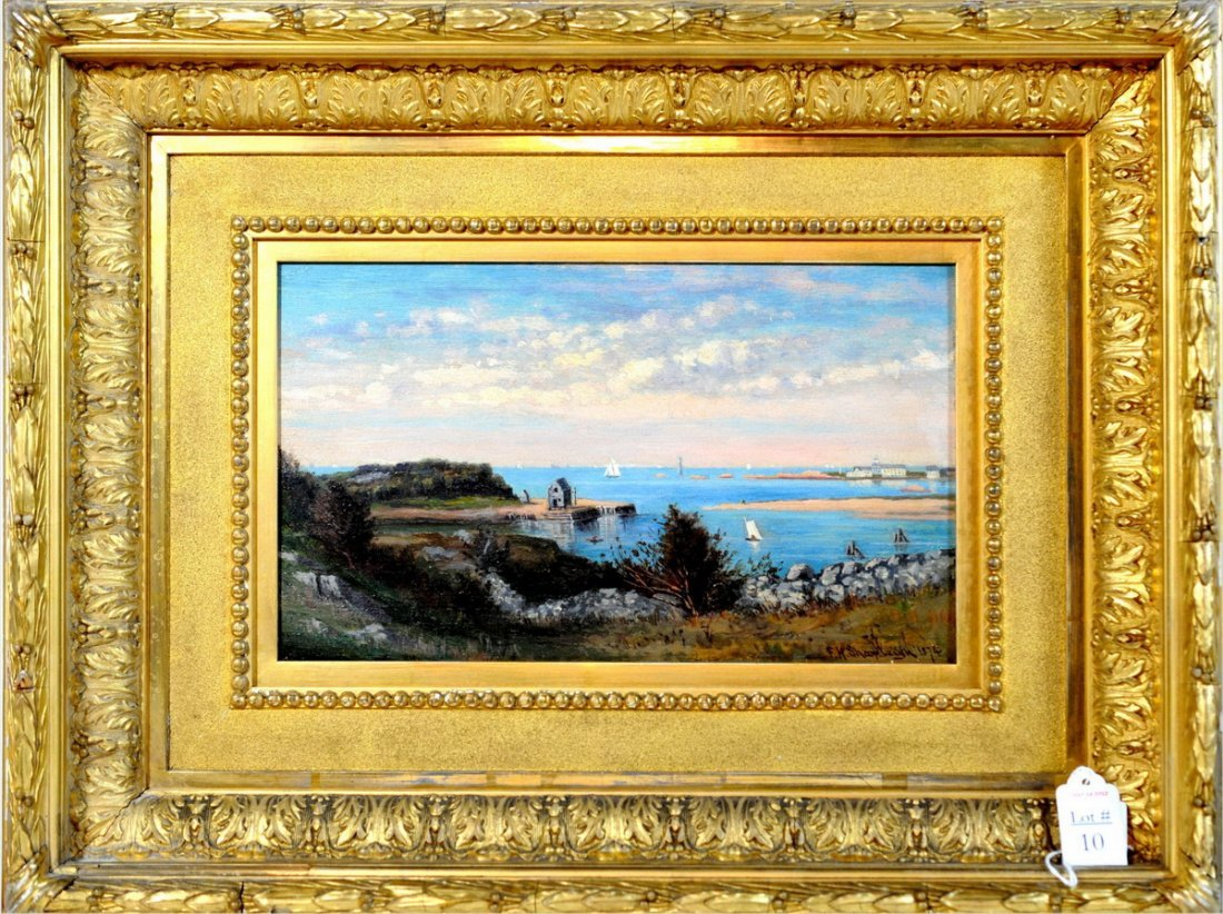 "10: OOB ""Cohassett Harbor from Kents Rocks"" signed and"