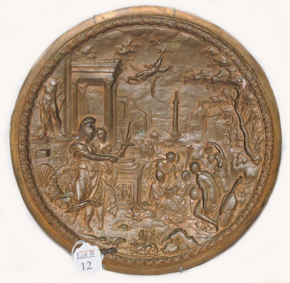 12: Very detailed vintage cast bronze decorative plaque
