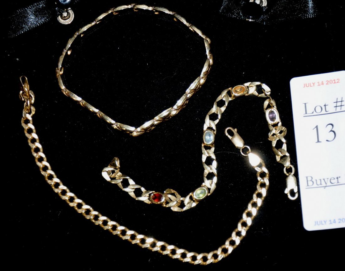 13: three 14 kt bracelets 13.50 penny weight