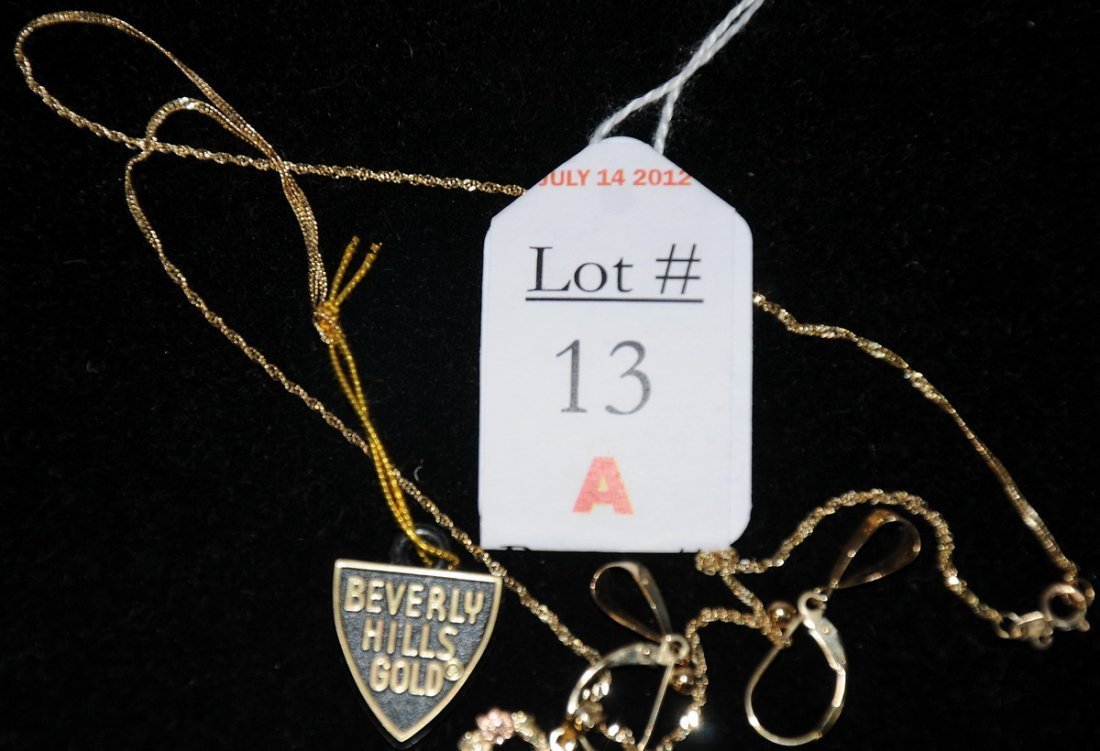 13A: Beverly Hills Gold Necklace and Earrings 2.57 dwt