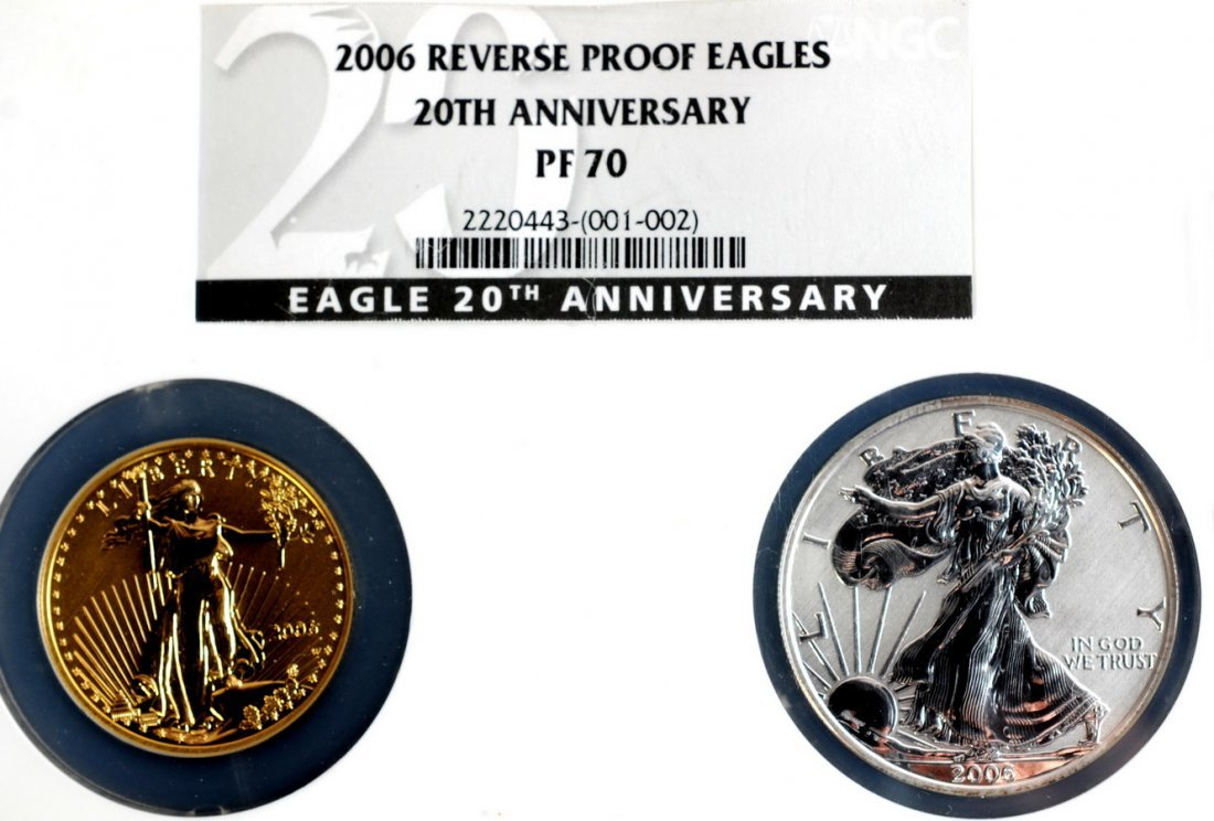 1: 2006 Reverse Proof Gold and Silver eagles set markin